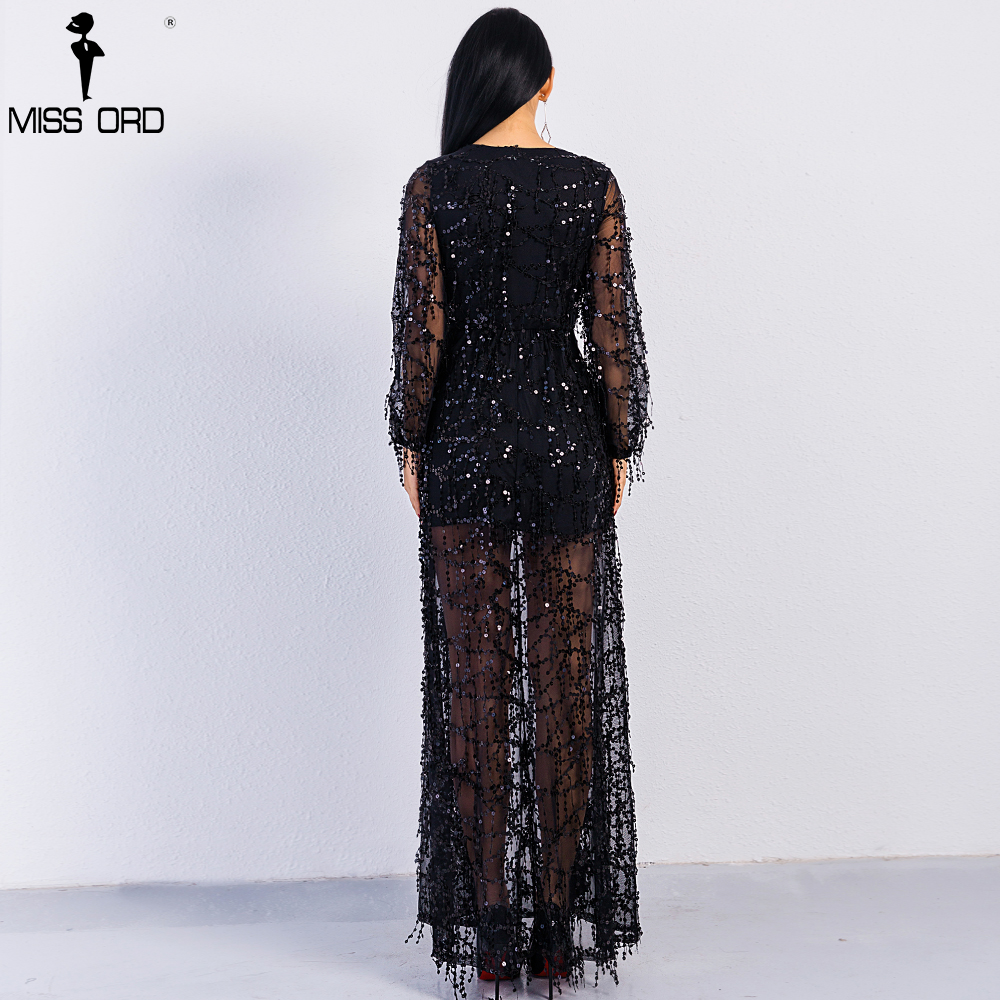 b31021d29c0e Free Shipping 2018 Sexy ankle-length long sleeve deep V two split sequin  maxi dress