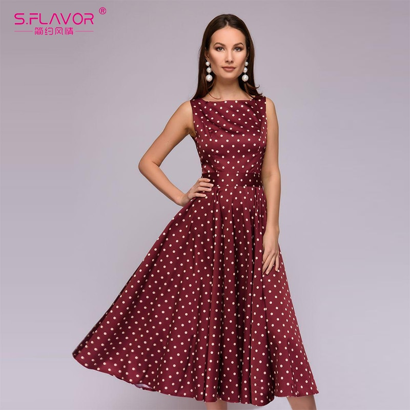b62650211835b Elegant Retro Dot Print Summer Dress fashion Large O-neck Sleeveless ...