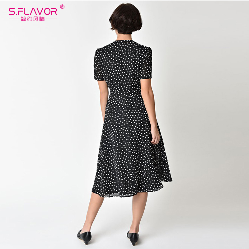b93d9c6f0bd10 Fashion Summer Dress Dot Short Sleeve Mid-calf Dress Vintage wave ...