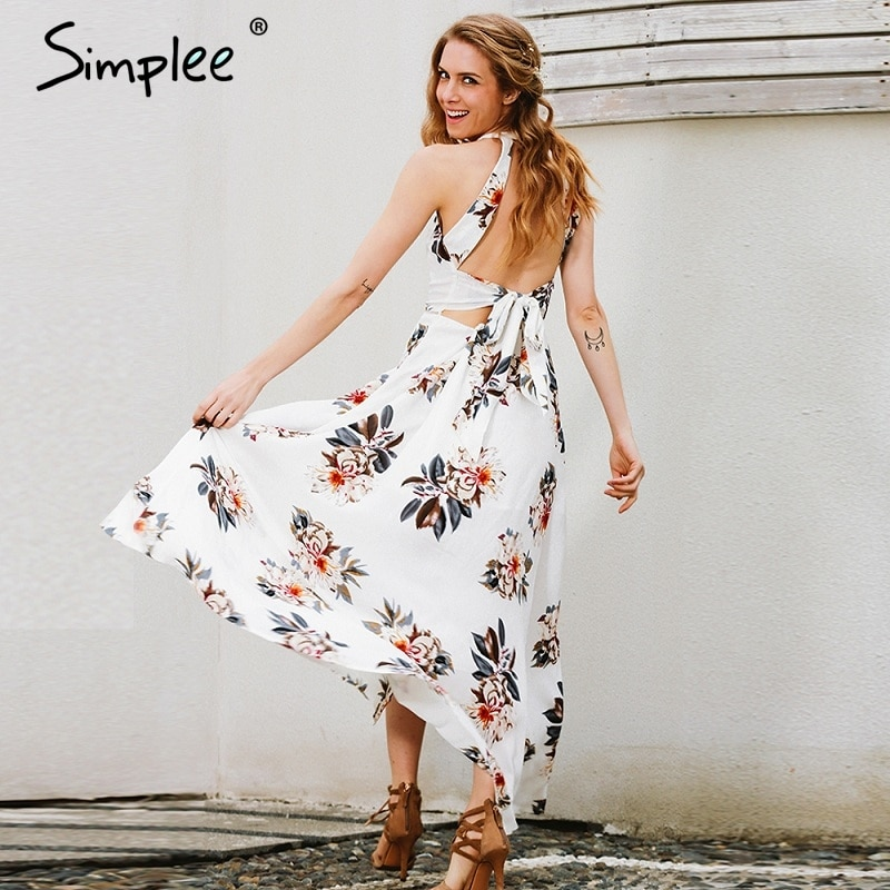 a272a8378ced Personal style Floral print halter chiffon long dress Women white split  beach summer dress Sexy backless maxi dresses vestidos 2017 new