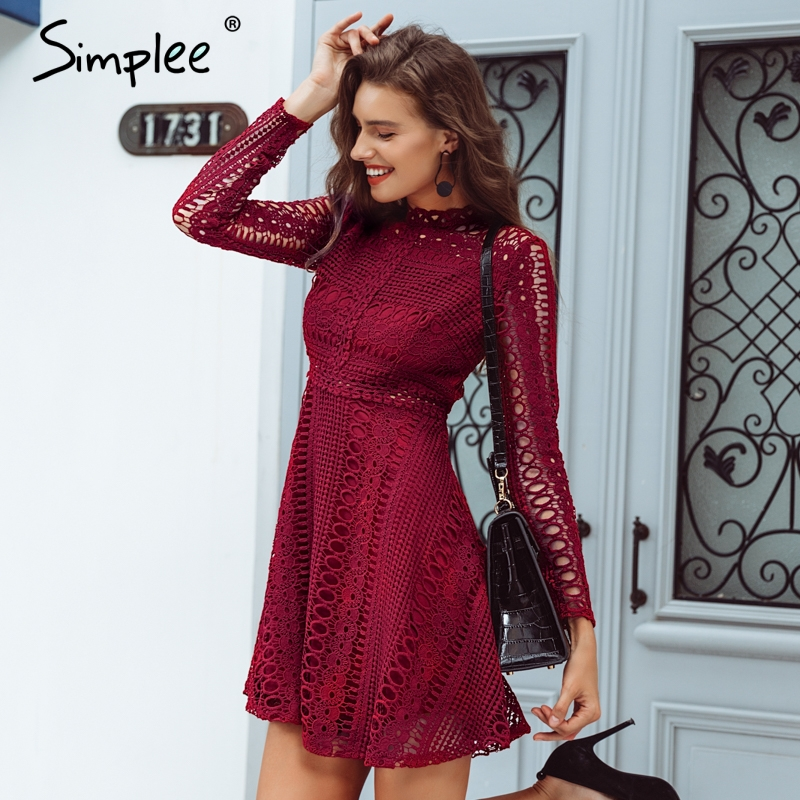 394cdef1b7a17 Personal style Lace water soluble sexy dress Elegant long sleeve hollow out  women dress Autumn winter party dress robe femme