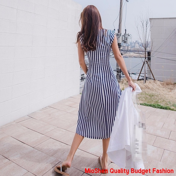 ebef6a84d4204 Bohemian Lace Up Dress For Striped Sleeveless Tunic High Waist Long ...